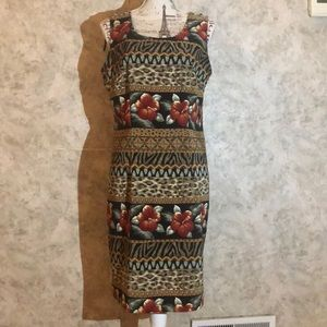 Kathie Lee Sleeveless Safari Floral Dress